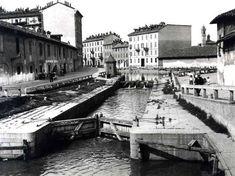 Vecchia Milano: la conca che collegava il Naviglio interno con la darsena di Porta Ticinese, 1900 circa