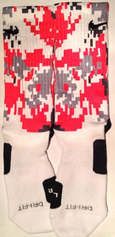 These are authentic Nike Elite socks for sale. The design on the sock was not created by Nike, but was created and customized by me. This is a single pair for sale. These are half covered with a unique fade to bottom technique.   Don't see the colors you need? Feel free to contact us. All of o...