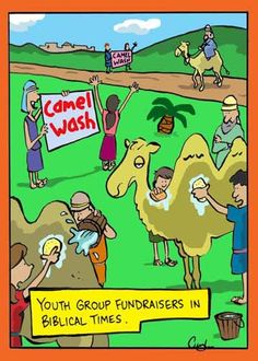 Catholic Humor Youth group fundraisers in Biblical times Christian Comics, Christian Cartoons, Christian Jokes, Christian Sayings, Church Memes, Church Humor, Catholic Memes, Religious Jokes, Jewish Humor