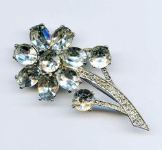 "Vtg House of Schrager Fifth Ave FLOWER Stem Clear Rhinestone Silvertone Pin 2.5"" #HouseofSchrager"
