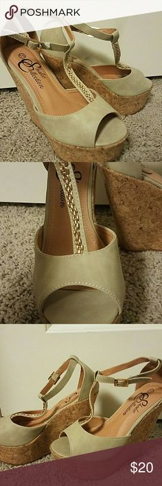 Nude wedge cork heels with chain strap detail Gorgeous and comfortable wedges with cork bottoms and nude upper. Gold chain detail on straps and adjustable buckle closure. shake Shoes Wedges
