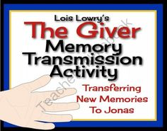 GIVER Memory Transmission Activity (Printable Cards & Assignment)  from Presto Plans on TeachersNotebook.com (6 pages)  - This fun, interactive simulation of Memory Transmissions in Lois Lowry's novel The Giver will allow students to empathize with Jonas, and also play the role of The Giver