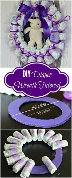 Tired of Diaper Cakes at Baby Showers? Check out this Diaper Wreath Tutorial! This article will show you step by step how to make it.