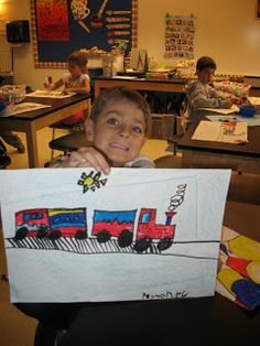 Jamestown Elementary Art Blog: Kindergarten Takes a Ride on the Primary Color Train!