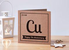 Geek 7th Anniversary Card, 7 year anniversary card, 7 years, Copper Anniversary Card, Geek Anniversary Card