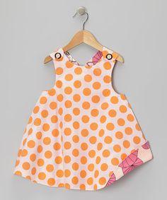 Look at this #zulilyfind! Orange Polka Dot Owl Reversible Jumper - Infant & Toddler by Right Bank Babies #zulilyfinds
