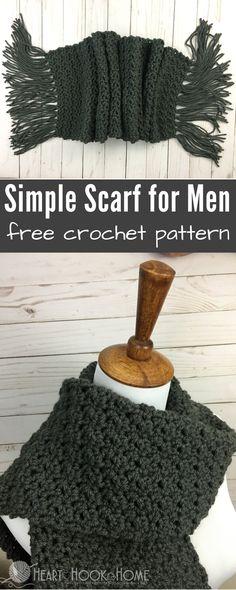 Simple Scarf for Men Free Crochet Pattern http://hearthookhome.com/simple-scarf-for-men-free-crochet-pattern/?utm_campaign=coschedule&utm_source=pinterest&utm_medium=Ashlea%20K%20-%20Heart%2C%20Hook%2C%20Home&utm_content=Simple%20Scarf%20for%20Men%20Free%20Crochet%20Pattern