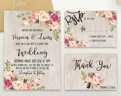 Floral Wedding Invitation Printable Rustic Wedding Invitation Suite Boho Chic Wedding Invite Spring Wedding Invite Set DIY Wedding