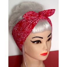 Head Scarf Red Bandana Headband Pinup Vintage Retro Style 50s... ($9.44) ❤ liked on Polyvore featuring accessories, vintage bandana, cotton bandanas, cotton handkerchiefs, red handkerchief and vintage handkerchiefs