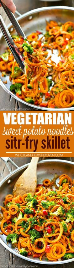 Kickedup sweet potato noodles stirfry style with lots of veggies! A supereasy dinner ready in 20 minutes with only 7 ingredients.