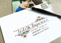 Using Amy style calligraphy and a Mexican-inspired design motif to send photos to relatives! I love the combination of earthy walnut ink and bright rich watercolors. Envelope Lettering, Calligraphy Envelope, Envelope Art, Envelope Design, Calligraphy Alphabet, Calligraphy Fonts, Islamic Calligraphy, Script Fonts, Mail Art Envelopes