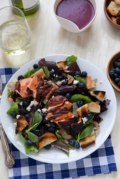 Grilled Salmon Salad with Blueberry Vinaigrette and Goat Cheese