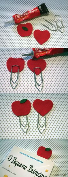 Tutorial marca-página de feltro #artesanato #decor #tutorial #passoapasso #pap #DIY #façavocemesmo #marcapagina #livros #leitura #decoração #artesanal #molde #utilidades #simples #mimo #coração #maçã #feltro #marrispe