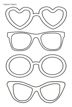 Printable Glasses Template Black And White Sunglass ...