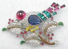 Trifari Bird on a Branch Brooch - Garden Party Collection Vintage Jewelry  http://www.costumejewel.com