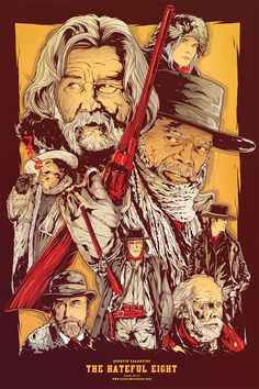Quentin Tarantino - Movie Poster - The Hateful Eight Inspiration for the build up of characters on the opening web page. Simpler then the other examples I have chosen, similar to the Mad Max one. A design I could definitely achieve for my web page. Best Movie Posters, Cinema Posters, Movie Poster Art, Poster Drawing, The Hateful Eight, Eight Movie, Quentin Tarantino Films, Alternative Movie Posters, Film Serie
