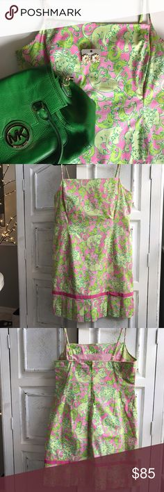 """🌴LILLY PULITZER Rare Print Dress🌴 Gorgeous EUC, Rare retired pattern, Catfish. Hard to Find. Super Cute! Adjustable Shoulder straps. Fully lined. Ribbon and Pleat detail at hem. Great for upcoming Season💕Bust=39"""", Waist=36"""", Bust to Hem=31"""", Hips=44"""". Lilly Pulitzer Dresses"""