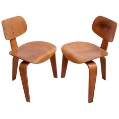 Rare Pair of Early SE42 Egon Eiermann Plywood Chairs, Germany ca.1950s