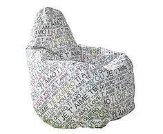 Poltrona riempita a sacco con stampa I love you - 146x83 cm