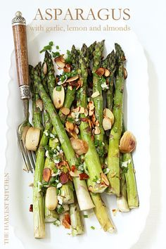from The Harvest Kitchen / Roasted Asparagus with Lemon and Roasted Garlic (great side dish for Thanksgiving) @ theharvestkitchen.com