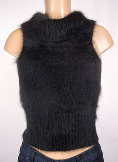 GUESS COLLECTION Sweater Size S Black 54% Angora Fuzzy Soft Turtle Neck #GUESS #TurtleneckMock
