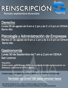 Reinscripción a CENUA setiembre-diciembre