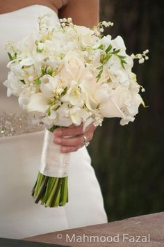 white rose/gardenia/white berries bouquet