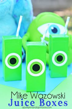 Monsters University Party Ideas: Mike Wazowski Juice Boxes #MUJuice #MonstersUniversity.... Saw movie today! Loved it.   Cute idea for party... Could do as water bottle wraps too