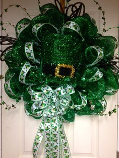 Deco Mesh St Patrick's Day Wreath, St Pattys Day, Leprechaun Wreath, LoYo Designs Wreath