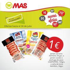 A cenas rápidas no hay quien nos gane! Pechuga de pavo, caña de lomo, jamón serrano o cocido por tan sólo 1€! #ofertas #NochesdeVerano