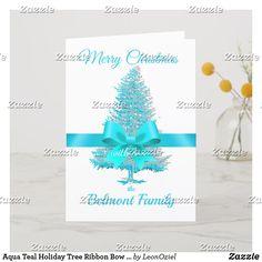 Shop Aqua Teal Holiday Tree Ribbon Bow Custom Name created by LeonOziel. Holiday Tree, Holiday Cards, Christmas Cards, Aqua, Teal, Ribbon Bows, Create Your Own, Place Card Holders, Seasons