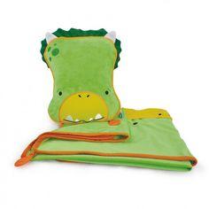 Manta y almohada de viaje Trunki Dino verde