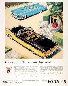 Ford Sunliner V8 T Bird 1955 Totally New | Mad Men Art | Vintage Ad Art Collection