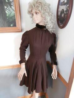 Vintage Skater Dress~ Handmade~  Wool ~ Fur Cuffs & Collar ~ Brown ~ Women's Skater Dress