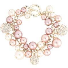Rose Gold Pearl And Fireball Bracelet (€14) ❤ liked on Polyvore featuring jewelry, bracelets, accessories, pink, necklaces, women's jewellery, chains jewelry, pink pendant, rose gold jewelry and rose gold pendant