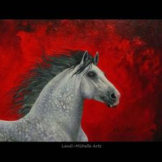 Purpose, oil painting by Landi-Michelle.   #LandiMichelleArts #magical #dapplegreyhorse #prestallion #caballo #instahorse #equine #cheval #red #fortheloveofred #andalusian  #purpose #stallion #instagram