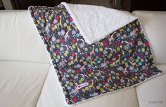 Giraffe/Minky Baby Blanket!   Giraffe Garden Blanket! Such a cute lively blanket for a baby girl. If you like giraffes, you'll definitely like the cute designs of this blanket! Check out www.maiblankie.wo... #baby #blankets #babyblankets