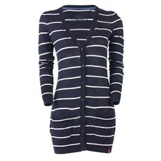Navy and white striped cardi
