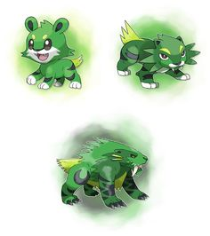 Fakemon: Rawlin (Grass), Saviger (Grass) and Lawnodon (Grass/Dark). Pokemon Fóssil, Fossil Pokemon, Pokemon Fusion Art, Pokemon Fake, Pokemon Funny, Pokemon Fan Art, Mythical Creatures Art, Creature Concept Art, Anime Furry