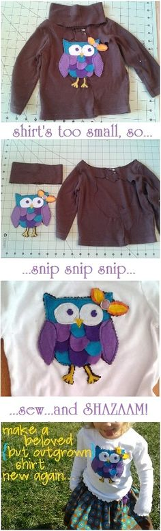 owl applique turtleneck to shirt, easy upcycle for little girl's outgrown top