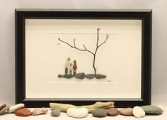 Pebble picture of family of three unique family by PebbleartShop