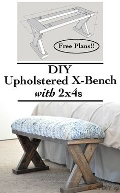 an easy and quick build! This DIY upholstered X-bench using only comes with free plans!Such an easy and quick build! This DIY upholstered X-bench using only comes with free plans! Woodworking Projects Diy, Diy Wood Projects, Furniture Projects, Home Furniture, Woodworking Plans, Woodworking Furniture, Popular Woodworking, Furniture Stores, Bedroom Furniture