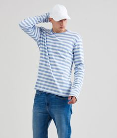 Style & Fit Striped longsleeve Front & Back - thick stripes in light blue & ecru Spring/Summer 2016 collection Materials & Details cotton Tobias, Spring Summer 2016, Ss16, Light Blue, Menswear, Stripes, Pullover, Long Sleeve, Sweaters