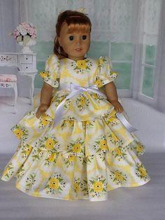 18 inch doll Retro Ruffled dress and half slip. Fits American Girl dolls.  Bright Side Yellow rose print.