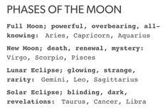 zodiac astrology moon phases