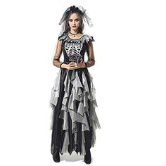 halloween scary costumes for women Zombie ghost bride Cosplay Dress Horror corpse bride skeleton vampire Day of the Dead Costume Crazy Halloween Costumes, Scary Costumes, Halloween Fashion, Costumes For Women, Women Halloween, Halloween Carnival, Halloween Celebration, Halloween Birthday, Birthday Celebration