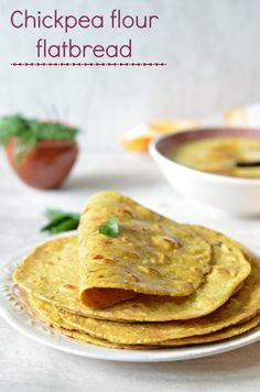 Besan ki masala Roti (Spicy chickpea flour bread)- is a high-protein, low-GI, easy flatbread. Great with yogurt and dry potato sabzis - AMAZING RECIPE! Chickpea Flour Bread, Chickpea Flour Recipes, Recipes With Gram Flour, Chickpea Flour Flatbread Recipe, Healthy Recipes, Indian Food Recipes, Vegetarian Recipes, Cooking Recipes, Healthy Baking