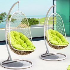 Swing Chair - Jolt of Neon Collection - Dot & Bo - I want that view with those chairs. Patio Lounge Chairs, Outdoor Chairs, Hanging Chair, Cushions, Recliner, Furniture, Home Decor, Womb Chair, Homemade Home Decor