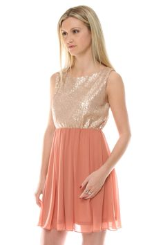 Sequin Babydoll Dress in Apricot