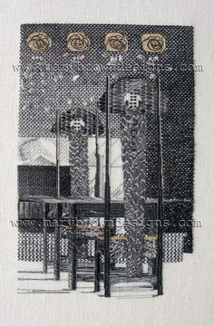 Blackwork of Charles Rennie Mackintosh Interior Design. I designed this and worked it in Blackwork when I did the Certificated Course at the Royal School of Needlework in 2000-2001